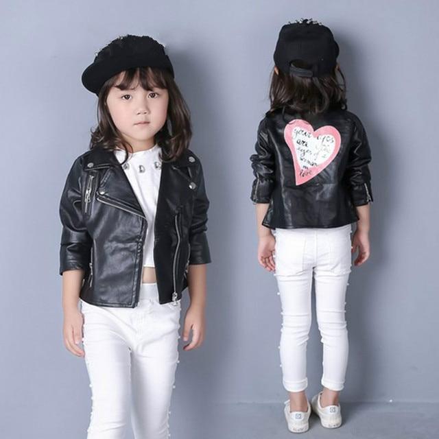 Girl Heart Shape Back Pu Jackets Coat Baby Girls Leather Jacket