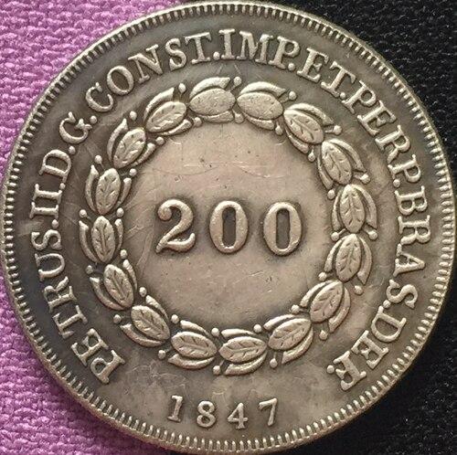 1847 Бразилия 200 Reis Монеты Скопируйте Бесплатная доставка