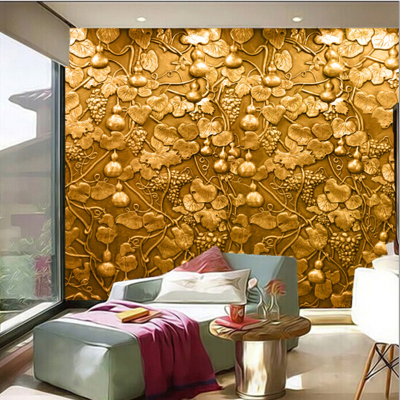 The custom 3D murals,3D stereo gold relief grape vine gourd mural papel de parede,living room sofa TV wall bedroom wall paper custom 3d murals tropical texture with toucans and hummingbirds papel de parede living room sofa tv wall bedroom wallpaper