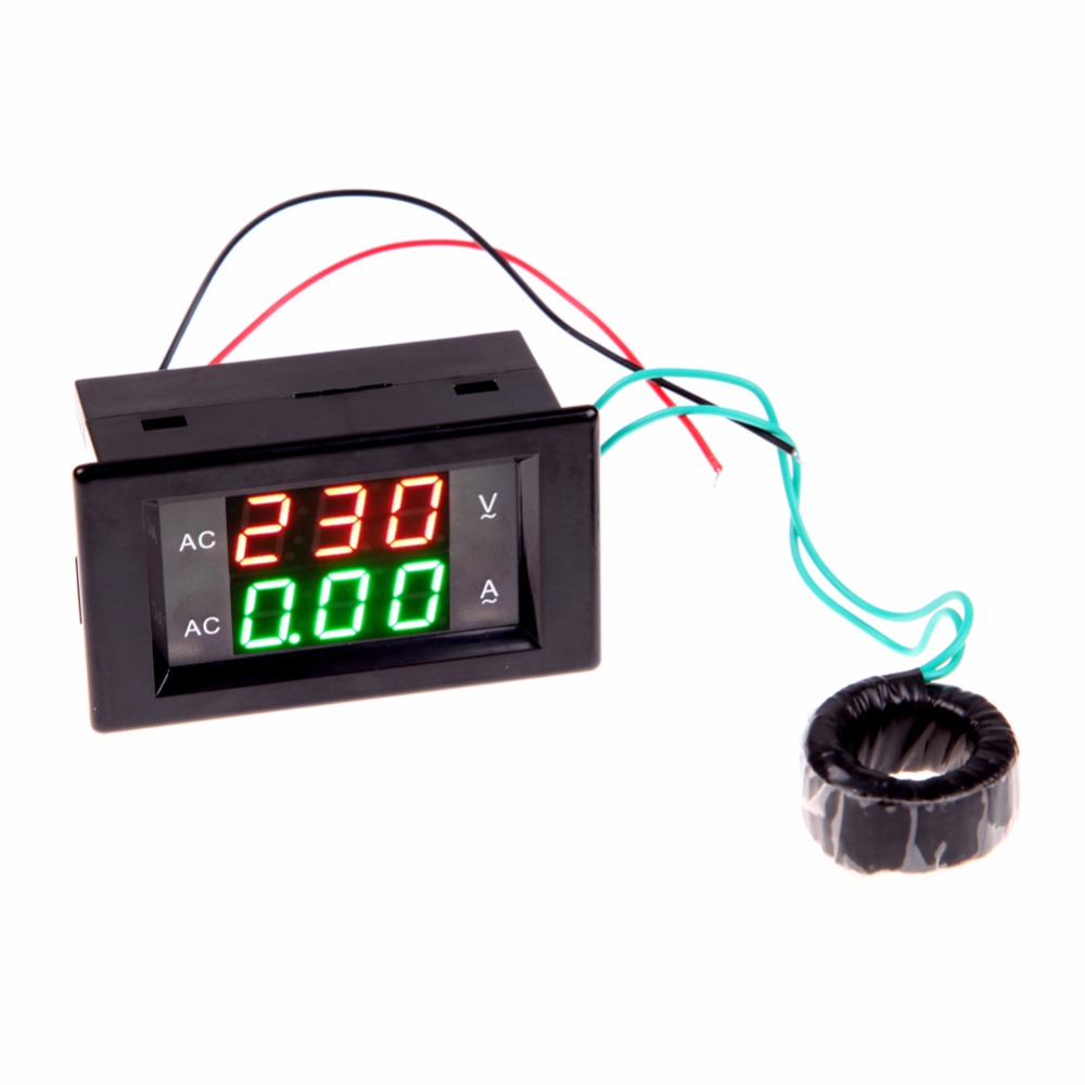 Ac Voltage Amp Meter With Current Transformer 300 500v 200a Service Panel Wiring Diagram Voltmeter Ammeter Digital Lcd Monitor Va In Meters From Tools On