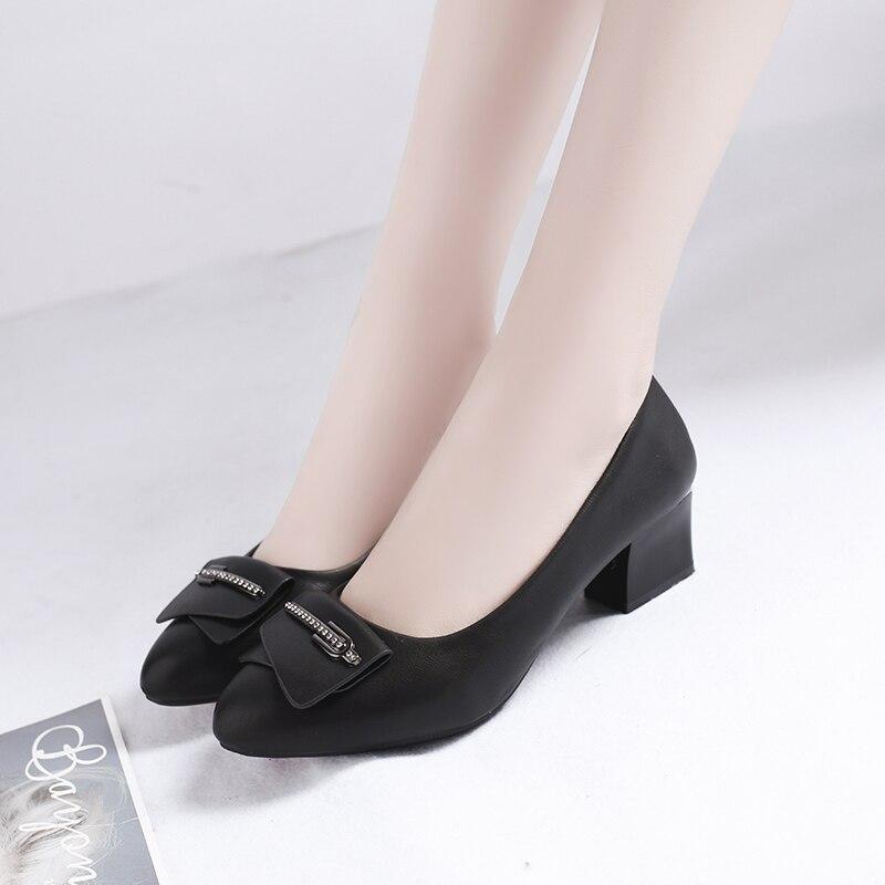 Beige negro Con Nuevo Mujer Alto Boca Estilo Espesor Baja Primavera Ocio 2019 Zapatos Punta Tacón De Pie Romano 1gpSwq4