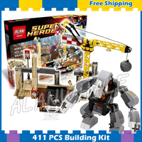 411pcs Super Heroes Spider Man Rhino and Sandman Super Villain Team Up 07021 Model Building Block Gifts Set Compatible with Lego