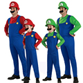 2017 boys girls super mario bros costume set for children jumpsuit mustache green red kids halloween cosplay clothes suit FG035