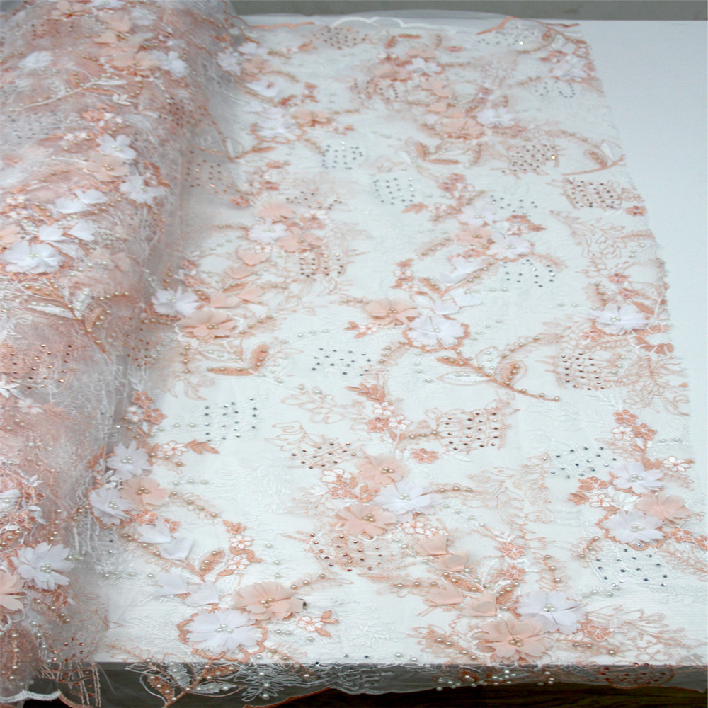 Latest African Lace Fabric 2018 High Quality Nigerian Lace Fabrics 3D Flower French Tulle Lace Fabrics