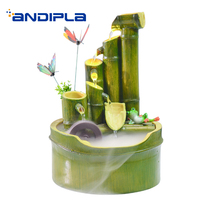 Creative Resin Feng Shui Water Fountain Bamboo Shape Waterscape Atomization Purifying Air Wedding Gift Desktop Decoration Crafts