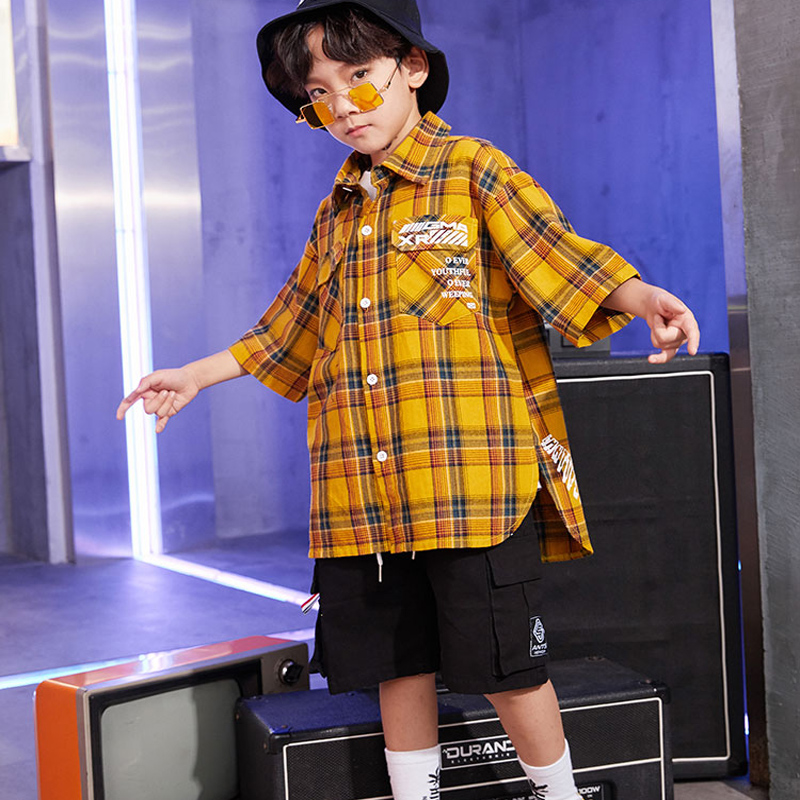 Jazz Dance Costume Boys Hip Hop Street Dance Clothing Kids Short Sleeve Performance Stage Show Costumes Chirden Clothing DQS1034