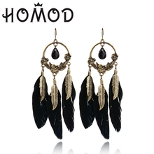 HOMOD 2019New Womens Vintage Bohemian Boho Style Black Beads&Feather Tassel Earrings LPXK356