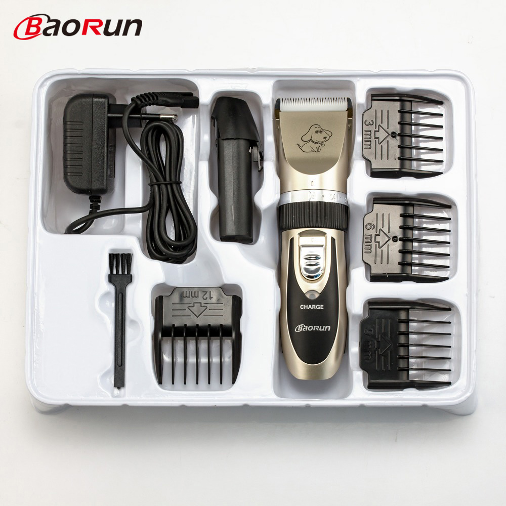 Baorun profesional recargable Pet Clipper gato de pelo Animal perros cortador de máquina de corte de pelo de afeitar tijeras eléctricas
