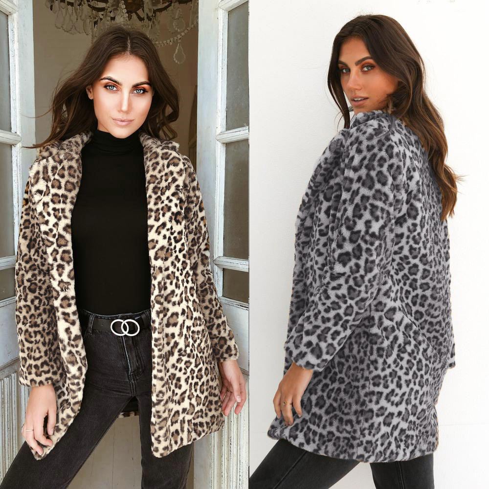 41db286a28aa Women Fake Fur Leopard Print Thin Coat Fashion Slim Fur Overcoat Jacket  Spring Autumn Big Size New Arrival Hot Sale-in Faux Fur from Women's  Clothing on ...