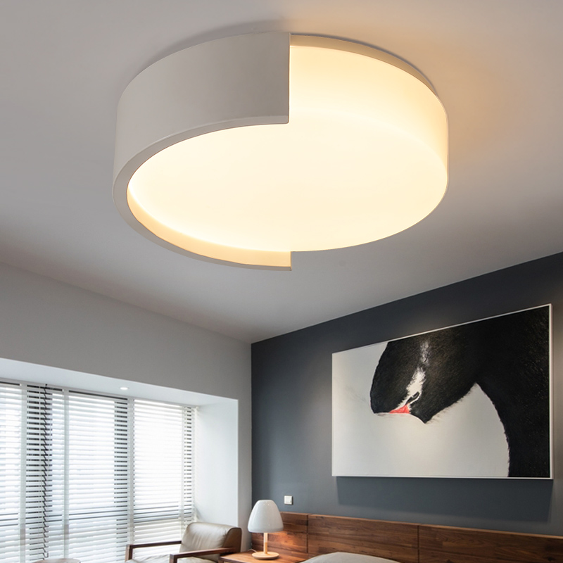 Black White art Modern LED ceiling light Round simple decoration fixtures study dining room balcony bedroom living room lamp black and white round lamp modern led light remote control dimmer ceiling lighting home fixtures
