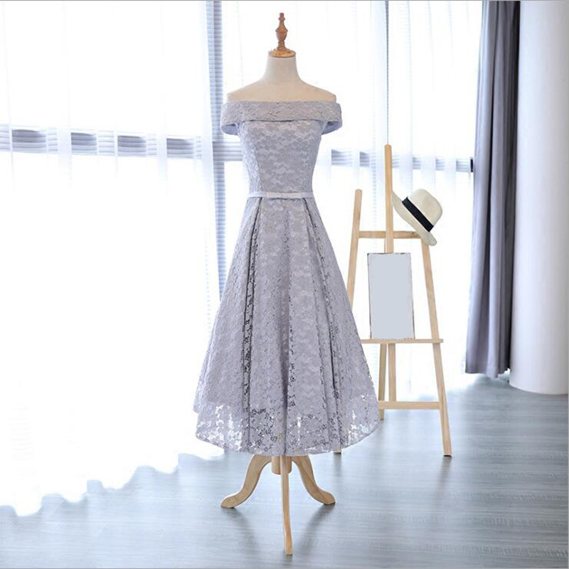 bridesmaid     dresses   Elegant long wedding party   dress   Plus size Grey   bridesmaid     dress   Lace Robe Soiree