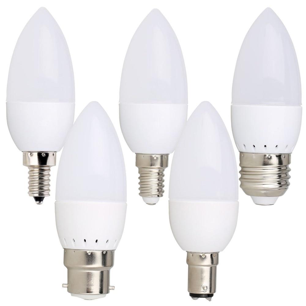 3W LED Candle Bulb E14 E27 B22 E12 B15 LED Lamp Indoor Light 110V 220V LED Chandelier Replace 20W Halogen Lamps For Home Decor