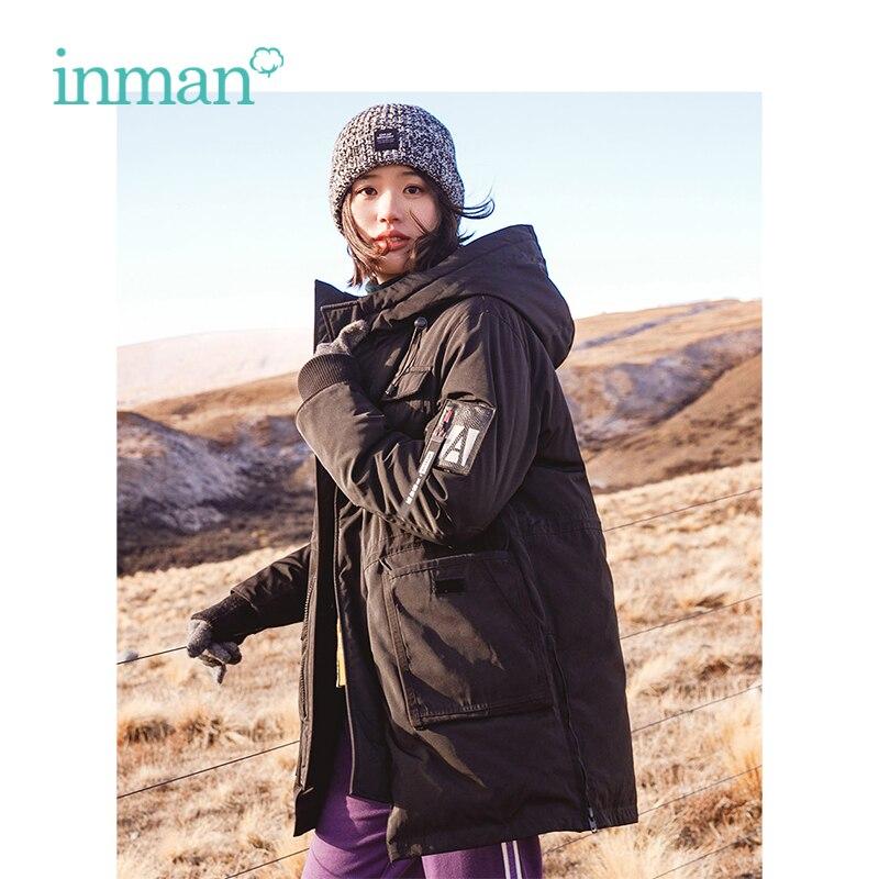 INMAN 2018 Nouvelle Arrivée Sweat À Capuche Lâche Frais Fille Style Court Femmes Down Manteau