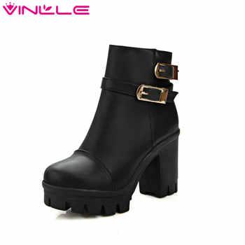 VINLLE 2018 Women Winter Buckle Punk Shoes Autumn PU Leather Square High Heel Ankle Boots Women Fashion Platform Boot Size 34-43 - DISCOUNT ITEM  50% OFF Shoes