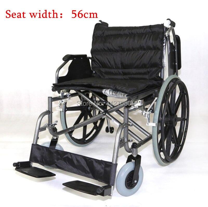 2018 Heißer Verkauf Gute Qualität Große Größe Große Sitz Breite 56 Cm Kapazität 175 Kg Manuelle Rollstuhl Rehabilitation Ausrüstung Reine WeißE