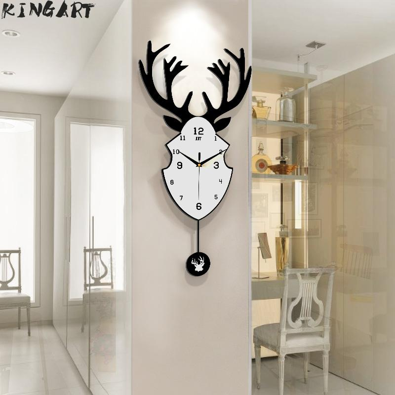 Grand cerf tête pendentif horloge murale créative salon moderne Design horloge murale Simple chambre calme mur montre décor à la maison Art