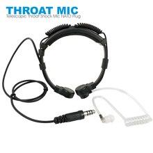 Fone de ouvido telescópico resistente da garganta, tático, microfone, plugue nato, para rádio walkie talkie