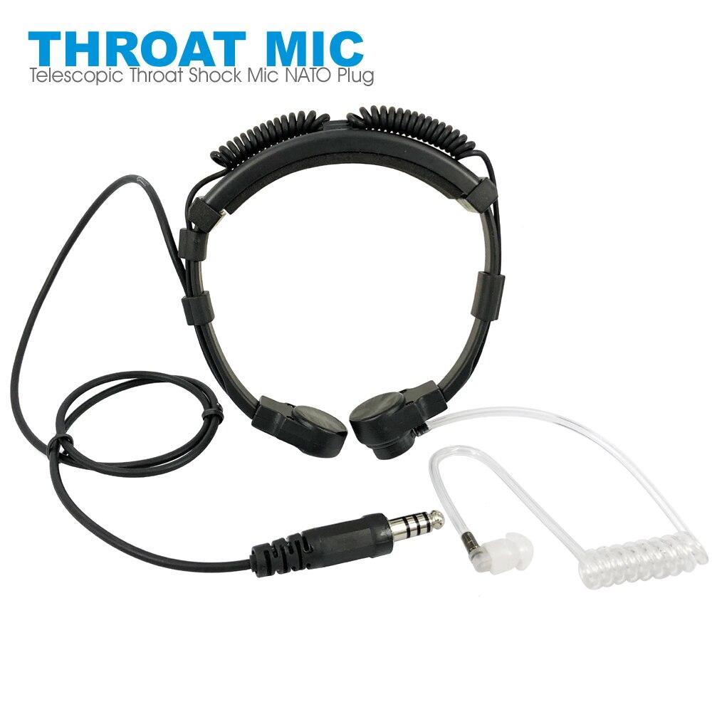 Telescópica heavy duty tático garganta vibração microfone fone de ouvido microfone otan plug para walkie talkie rádio