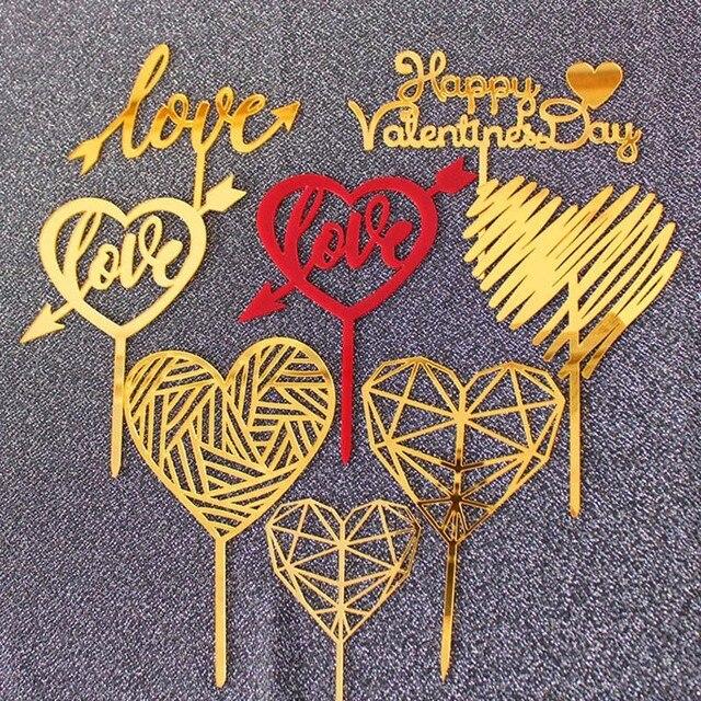 AMOR Casamento Acrílico Bolo Topper Ouro Coração Vermelho Do Amor Dia Dos Namorados Feliz Decorações Do Bolo de Coco Do Queque Para O Aniversário 2019