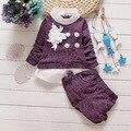 Малыш девочка комплектов одежды 2016 новая весна новорожденных девочек костюмы 2 шт. цветы длинным рукавом хлопка пиджаки рубашки + шорты