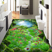 3D Wallpaper Forest Paths Fairy Tale 3D Floor Tiles Murals Kids Bedroom Living Room Hallways PVC Waterproof Wear Mural Wallpaper