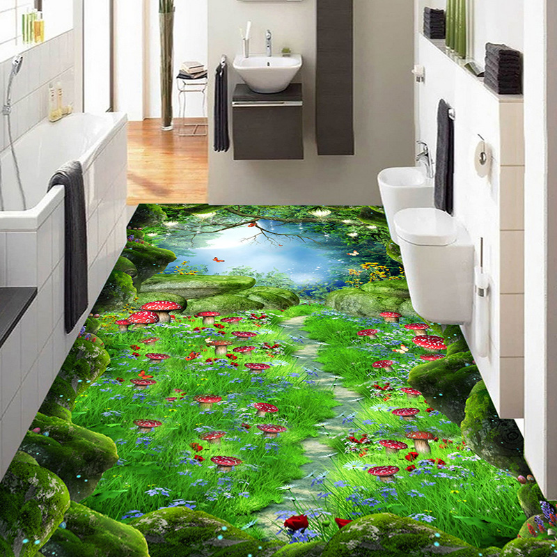 3D Wallpaper Forest Paths Fairy Tale 3D Floor Tiles Murals Kids Bedroom Living Room Hallways PVC
