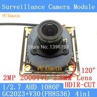 PU'Aimetis 2MP 1920*1080 AHD CCTV 1080 P nachtzicht Camera Module 1/2. 7 2000TVL 2.8mm breed-hoek 120 graden bewakingscamera