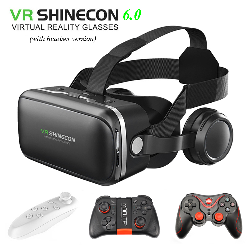 100% Original VR SHINECON 6.0 Virtual Reality goggles 120 FOV 3D Glasses google cardboard with Headset Stereo Box For smartphone