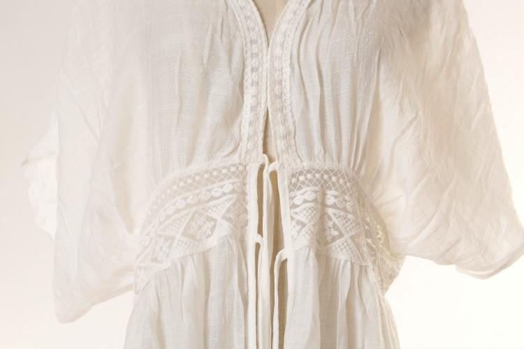 Women 39 s Cotton Kimono Cardigan Lace Long Maxi Beach Dress Bikini Covers Up in Cover Ups from Sports amp Entertainment