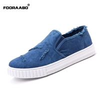 Fooraabo New 2017 Summer Men Loafers Shoes Top Fashion Men Canvas Shoes Slip On Breathable Casual