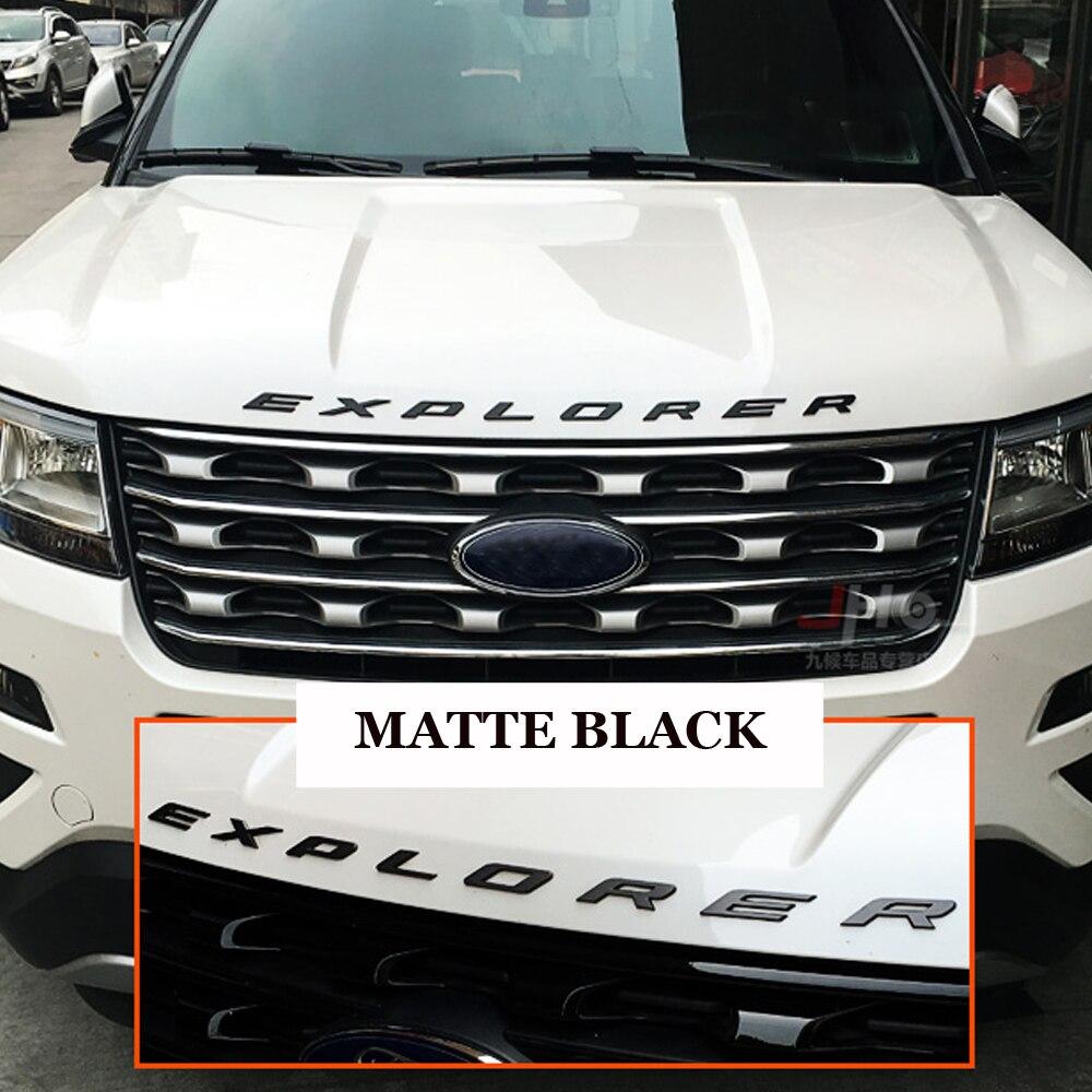 Matte Schwarz Auto 3D EXPLORER Feste Buchstaben Haube Emblem Chrome Logo Abzeichen Für 2011 2012 2013 2014 2015 2016 Ford explorer Sport