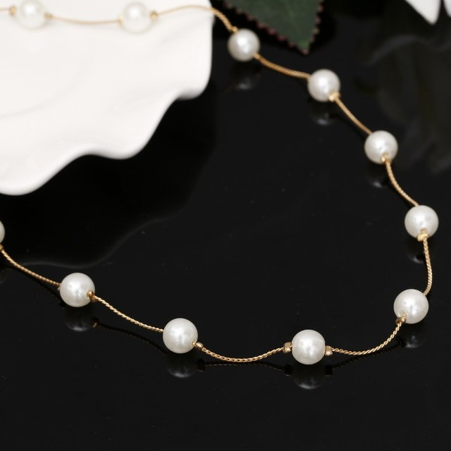 02006b8986d4 Simulated-pearl Necklace Gold Plated Snake Chain Beads Chain Choker Necklace  For Girl Women Fashion Jewelry