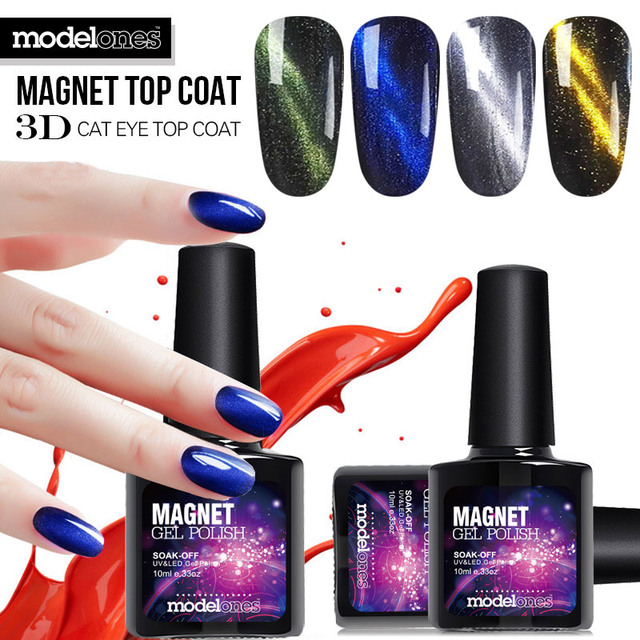 Modelones 3d Magnet Top Coat Soak Off Cat Eyes Uv Nail Gel Polish