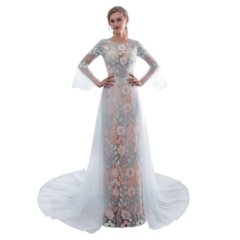 b56ff0d1d475c 2019 جديد وصول اللباس الرسمي النساء أنيقة طويلة الأكمام الأزهار النسيج تول  قطار أزياء فستان طويل