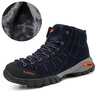 Plus Size 36 48 Winter Genuine Leather Warm Hiking Shoes For Men And Women Lovers High