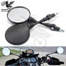 round motorcycle rearview mirror foldable motorbike backup black moto side for KTM motocross mirrors dirt pit bike
