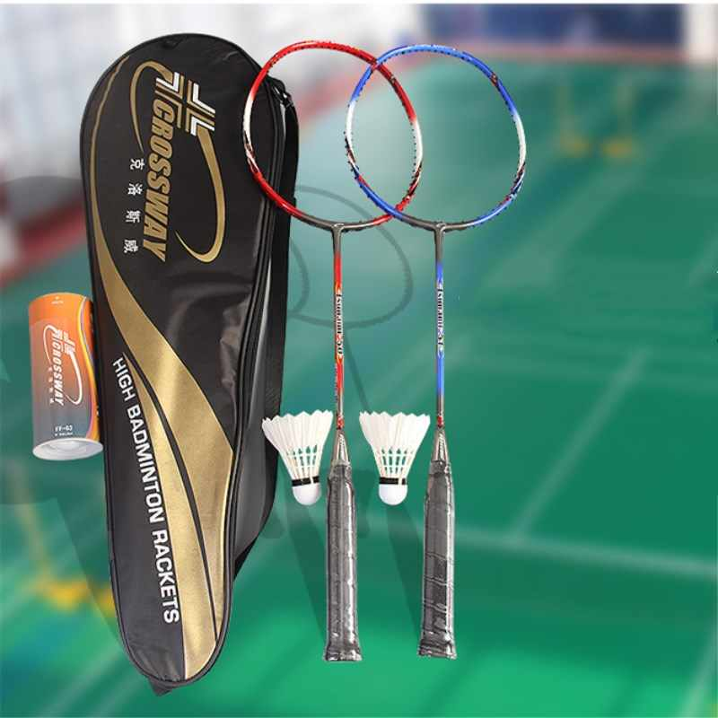 1PCS 3U Badminton Racket Light High Elastic Carbon 20-24 lbs High Quality High Speed With Cover Bag With String Unisex Racquet
