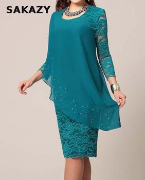 Large Size Dress Summer Solid Color Lace Dress Female Elegant 3/4 Sleeve Slim Party Chiffon Plus Size Dress Women Vestidos 5xl 3