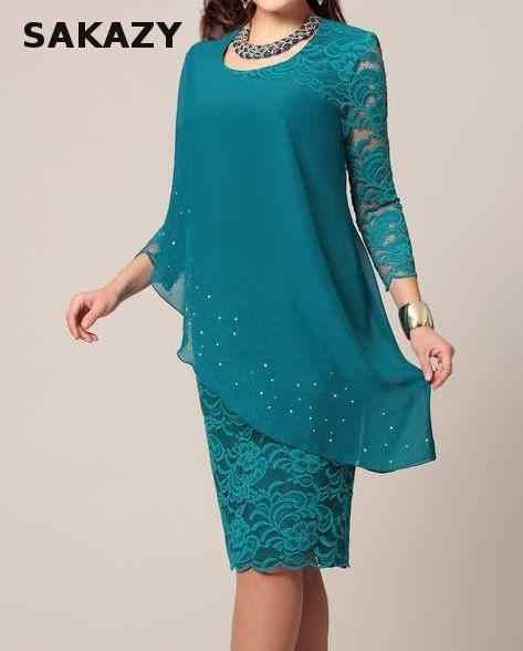Большой Размеры платье летние однотонные Цвет кружевном платье женский элегантный 3/4 рукав Тонкий вечерние длинное шифоновое плюс Размеры платье Для женщин Vestidos 5xl