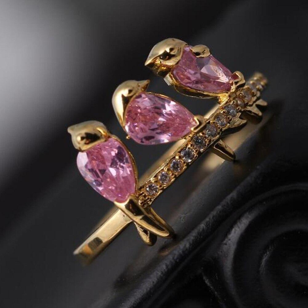 Creative Branches Golden Bird Ring Fashion Gilr Cute Jewelry Interesting Three B
