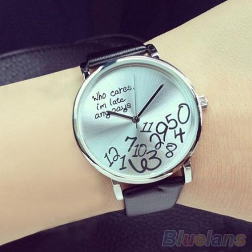 Women\'s Men\'s Who Cares Faux Leather Arabic Numerals Letters Printed Wrist Watch Hot Reloj Hombre Watches