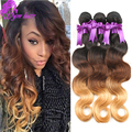 Ombre Human Hair T1B/4/27 Indian Virgin Hair Body Wave 3 Bundles Three Tone Ombre Human Hair Weave Raw Indian Hair Fast Shipping