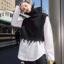 Momoluna New 2019 Woman modis spring solid turtleneck tassel sleeveless jersey k
