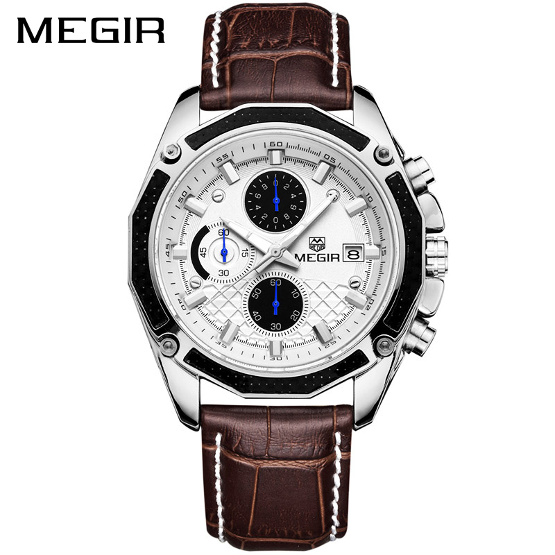MEGIR Original Men Quartz Watch Top Brand Military Watch Multifunction Chronograph Leather Sport Watches Relogio Feminino 2015