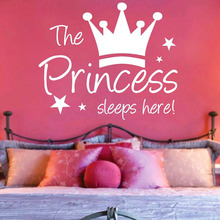 DCTOP The Crown Princess Sleep Here Star Kids Room Wall Stickers Waterproof Wallstickers Decals Decoration House