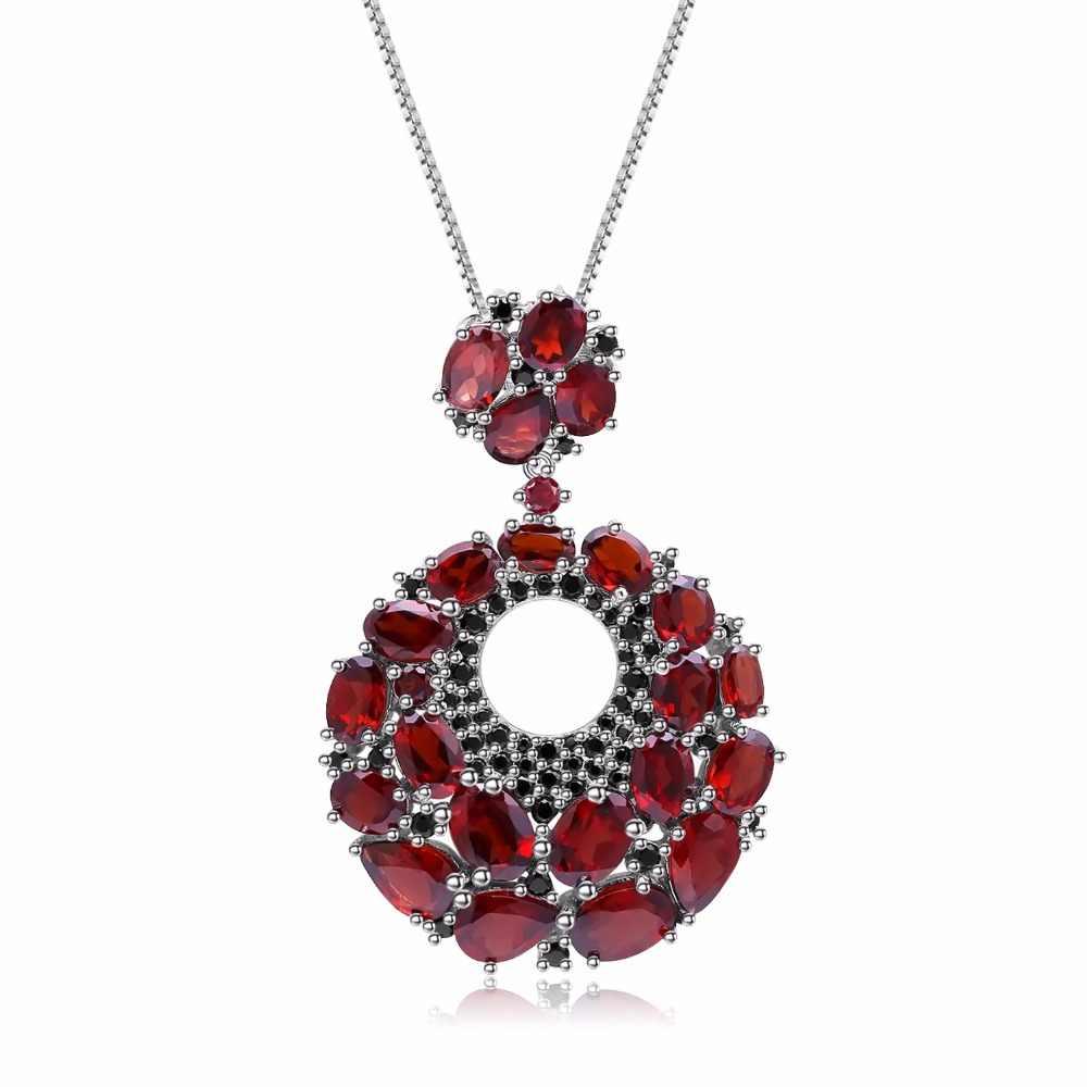 GEM'S BALLET Rodada Pingentes de Pedras Preciosas Naturais Granada 925 Sliver Colar Vintage Para As Mulheres Esposa Presente Fine Jewelry