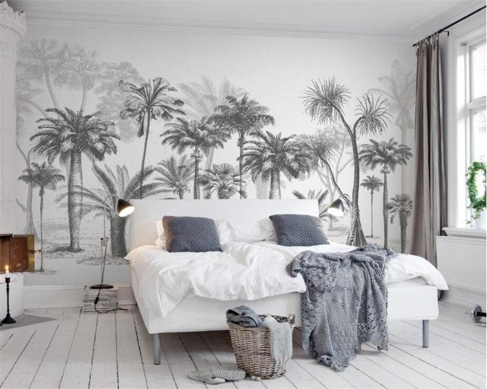 Обои на заказ, черно-белое большое дерево, тропический лес, кокосовое дерево, современный телевизор, диван, фон, 3d обои