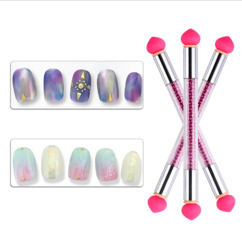 1Pc Gradient Nail Brush Nail Art Tool 4 Replaceable Nail Silica gel French Manicure Embossing Pen Ombre Acrylic Painting Tools