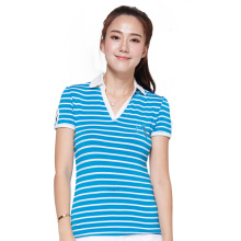 New Brand Women Golf Tshirt Polo Shirt Ladies Short Sleeve Stripe 100% Cotton High-quality