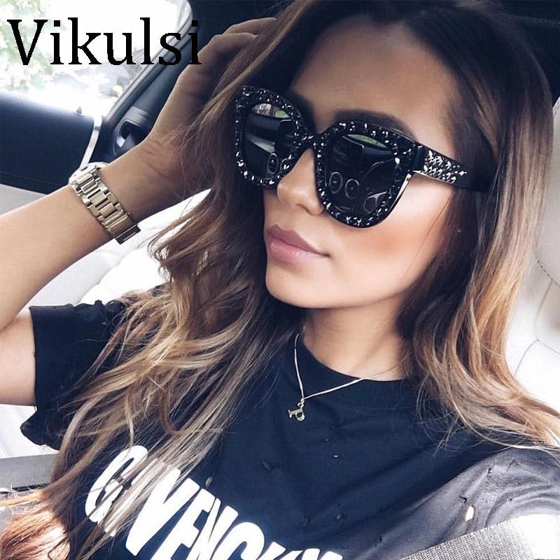 2018 Роскошный итальянский бренд Солнцезащитные очки для женщин Для женщин Кристалл площади Солнцезащитные очки для женщин зеркало Ретро Полный Звезда Защита от солнца Очки женский черный серый оттенки